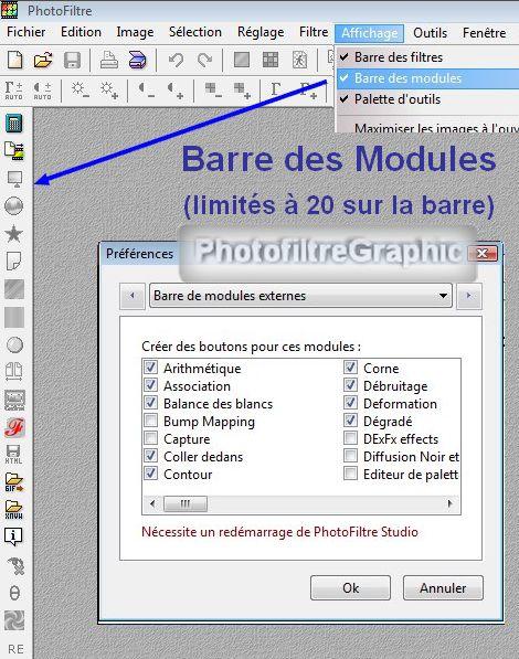 barre des modules photofiltre